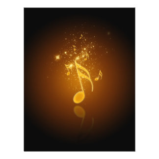 """Awesome cool trendy glowing semiquavers music note 8.5"""" x 11"""" flyer"""