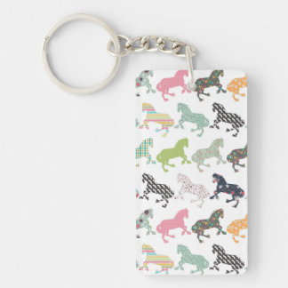 Awesome cool trendy horses pattern, vintage floral Double-Sided rectangular acrylic keychain