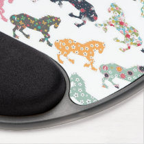 Awesome cool trendy horses pattern, vintage floral gel mouse pad