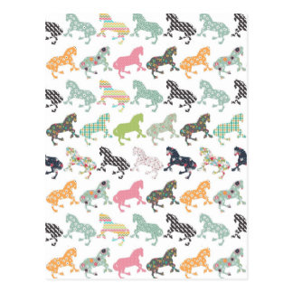 Awesome cool trendy horses pattern, vintage floral postcard
