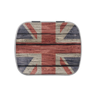 Awesome cool trendy old wood grunge U.k. Flag Candy Tins