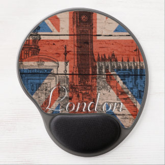 Awesome cool trendy old wood grunge U k Flag Gel Mousepads