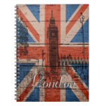Awesome cool trendy old wood grunge U.k. flag Note Book