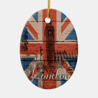 Awesome cool trendy old wood grunge U.k. flag Christmas Ornaments