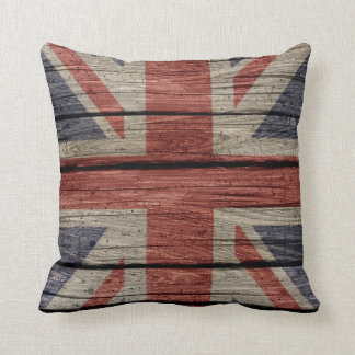 Awesome cool trendy old wood grunge U.k. Flag Throw Pillow