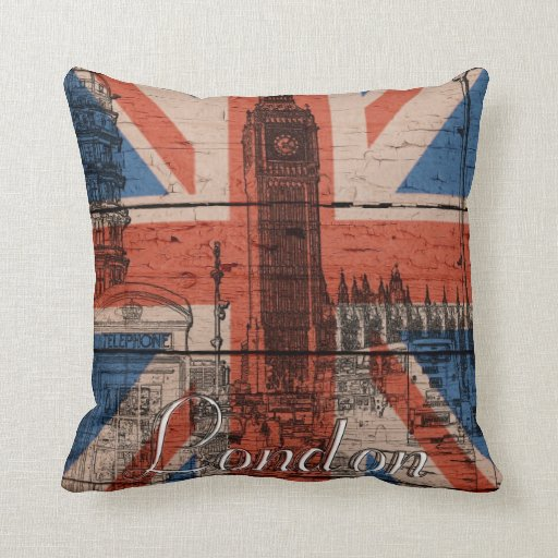 Awesome cool trendy old wood grunge U.k. Flag Pillow