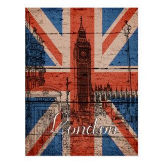 Awesome cool trendy old wood grunge U.k. flag Postcard