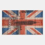 Awesome cool trendy old wood grunge U.k. flag Rectangular Sticker