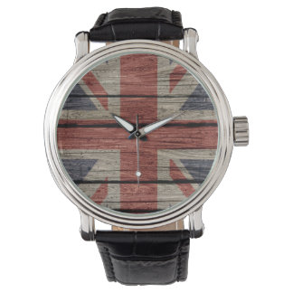 Awesome cool trendy old wood grunge U.k. Flag Wrist Watches