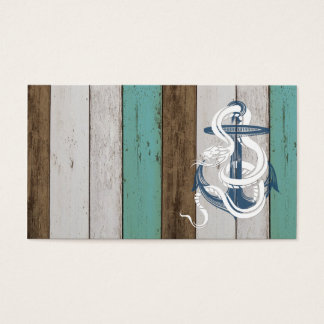 Awesome cool vintage blue anchor white snake business card