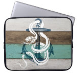 Awesome cool vintage blue anchor white snake laptop sleeve
