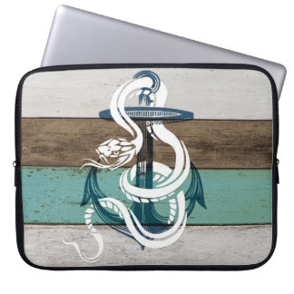 Awesome cool vintage blue anchor white snake laptop sleeves