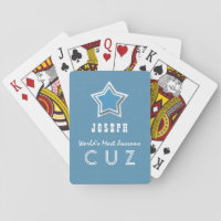 Awesome COUSIN Blue and White Star B40A Playing Cards