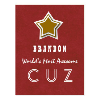 Awesome COUSIN Red and GOLD Star B40Z Postcard
