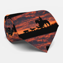 Awesome Cowboy and Wild Horses Tie