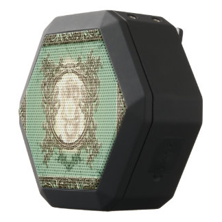 Awesome creepy skull on green background black bluetooth speaker