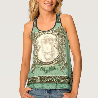 Awesome creepy skull on green background tank top