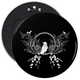 Awesome crow and flowers in black and white button