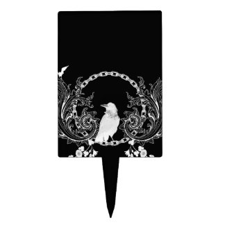 Awesome crow and flowers in black and white cake topper