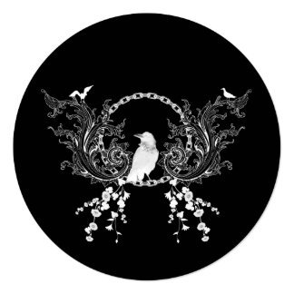 Awesome crow and flowers in black and white card