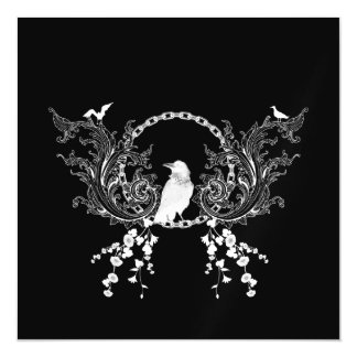 Awesome crow and flowers in black and white magnetic card