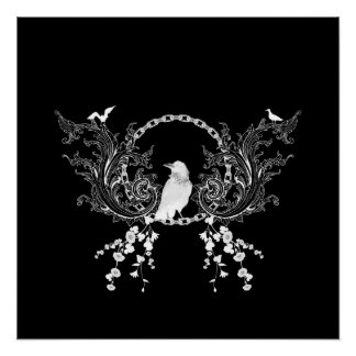 Awesome crow and flowers in black and white poster