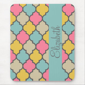 awesome cute trendy Quatrefoil colourful pattern Mouse Pad