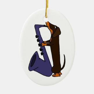 Awesome Dachshund Dog Playing Saxophone Ceramic Ornament