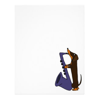 Awesome Dachshund Dog Playing Saxophone Letterhead