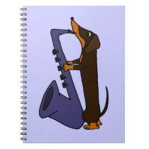 Awesome Dachshund Dog Playing Saxophone Notebook
