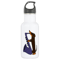 Awesome Dachshund Dog Playing Saxophone Water Bottle