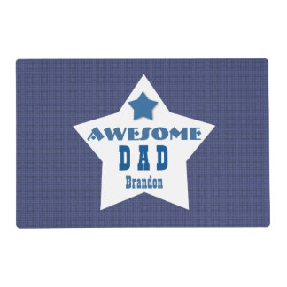 Awesome DAD Blue Pattern with Star and Name Z033H Placemat