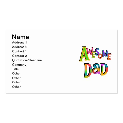 Awesome Dad T-shirts and Gifts Double-Sided Standard Business Cards (Pack Of 100)