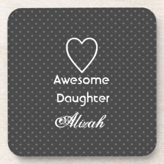 Awesome Daughter Black and Silver Polka Dots Coaster