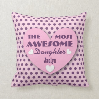 Awesome DAUGHTER Hearts Polka Dots PINK PURPLE 12 Throw Pillow
