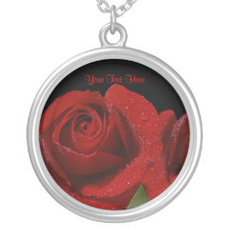 Awesome Dew Covered Dark Red Rose Design Round Pendant Necklace