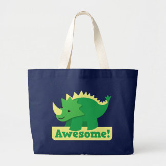 awesome dino large tote bag