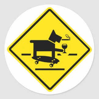 Awesome Dog Crossing Classic Round Sticker