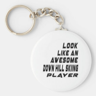 Awesome Down Hill Skiing Player Basic Round Button Keychain