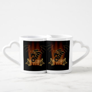 Awesome dragon in gold and black couples coffee mug