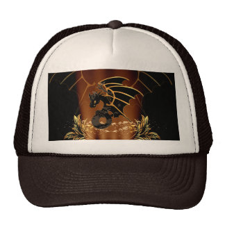 Awesome dragon in gold and black hats
