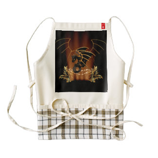Awesome dragon in gold and black zazzle HEART apron