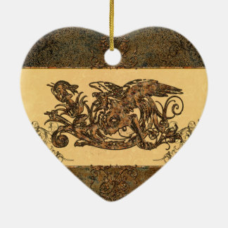 Awesome dragon made of rusty metal ceramic ornament
