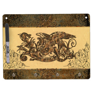 Awesome dragon made of rusty metal dry erase board with keychain holder