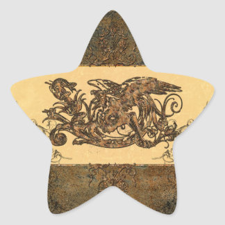 Awesome dragon made of rusty metal star sticker