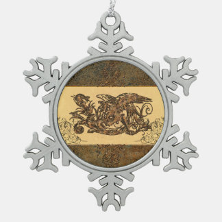 Awesome dragon snowflake pewter christmas ornament