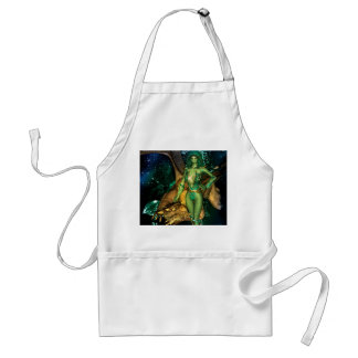 Awesome dragon with fairy and water splash adult apron