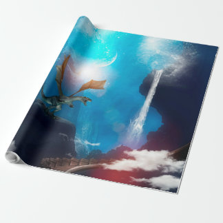 Awesome dragon with waterfalls wrapping paper