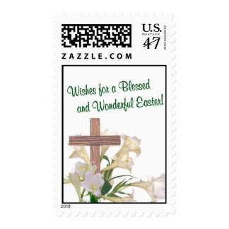 Awesome! Easter Lilies & Wooden Cross Postage