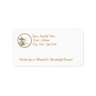Awesome Easter Lilies &Wooden Cross Return Address Address Label
